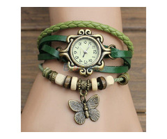 Artificial Leather Womens Bracelet Butterfly Wristwatch