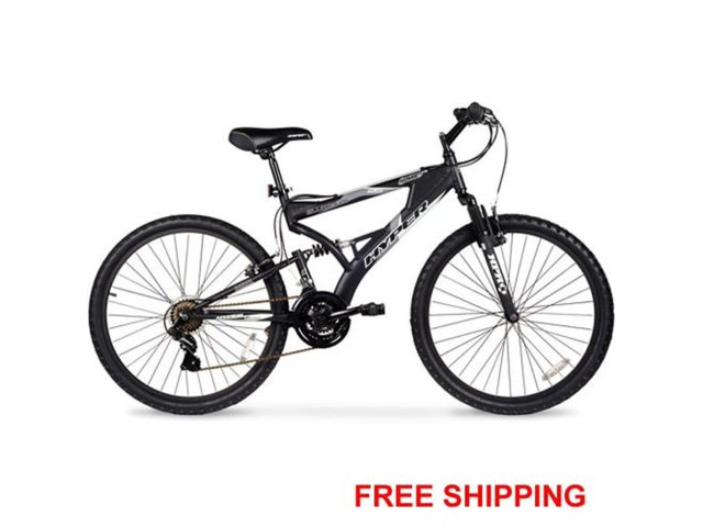 Men's Mountain Bike Black Aluminum Frame Bicycle