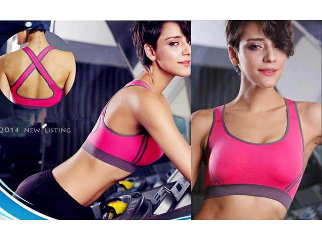 Women Padded Yoga Bra Racerback Top Athletic Vest Gym Fitness Sports
